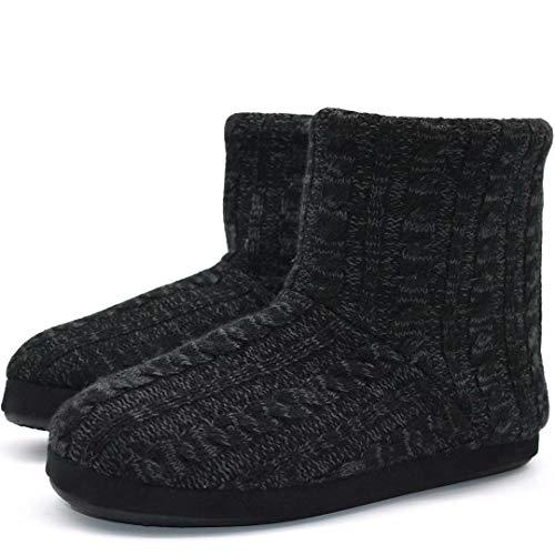 KuaiLu Kaschmir Strickpantoffeln Baumwolle Herren Hohe Hausschuhe warm Indoor-Schuhe Rutschfest,Reines Schwarz,40 EU (UK 6 US 7)