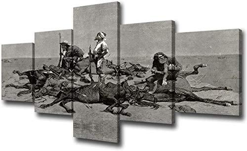 Looaceo Arte Modular De La Pared De La Pintura De La Lona 5 Pedazos America Cowboys Pictures For Living Room American Indian After A Fight Pinturas De Grabado 5 Piezas 78,7 * 39 pulgadas 200 * 100 cm