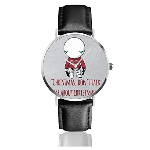 Unisex Business Casual Christmas Marvin The Paranoid Android Hitchhikers Guide to The Galaxy Uhren Quarz Leder Uhr mit schwarzem Lederband für Männer Frauen Junge Kollektion Geschenk