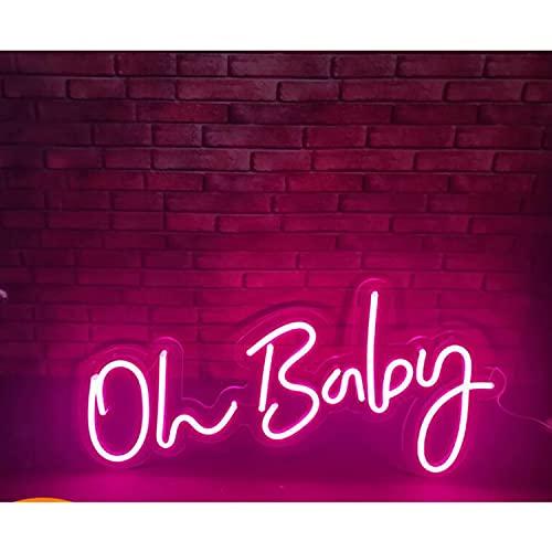 XZWQ Oh Baby Letter Modeling Lampe LED Neonlicht, Kunst Wanddekoration Für Wände Neonlicht Zeichen Für, Kinder Schlafzimmer Dekor Nachtlampe Geschenk,Rosa