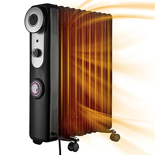 NONMON 2500W Oil Filled Radiator 11 Fin Portable Electric Heater with 3 Heat Settings Adjustable Thermostat Timer, Overheat Protection Safety Cut Off Castor Wheels Heater Energy Efficient for Home