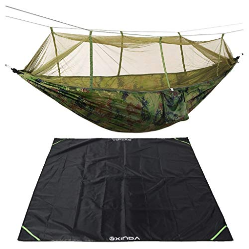 JF-XUAN Sturdy, Camouflage Camping Hammock Mosquito Net Hanging Swing Sleeping Bed + Floor Mat