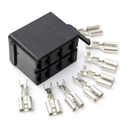 JSJJAUA Interruptor basculante Conectores de terminales de Pala Hembra 8X Conector de Terminal de Alambre para enchufes de zócalo ARB Interruptor de Rocker Carling