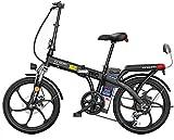 MQJ Ebikes Plegable Bicicleta Eléctrica Ebike, Bicicleta Eléctrica de 20 Pulgadas con Batería de Iones de Litio Extraíble 48V, 3 Modos de Trabajo, Ebike con Motor 250W,Blanco,150 Km