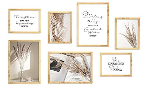 Cuadros de Pared Salon,Conjunto de 7 Carteles,Imágenes Beige, Fotos Citas Inspiradoras,Elegantes Pampas...
