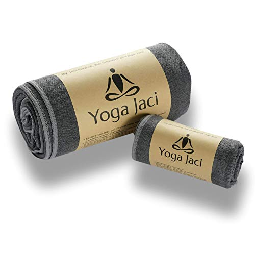 Yoga Mat Towel and Hand Towel as a Combo Set - Nonslip and Anti Slip - Mat Size Length - Lightweight - Perfect for Travel (Gray, 1 Mat Towel + 1 Hand Towel)