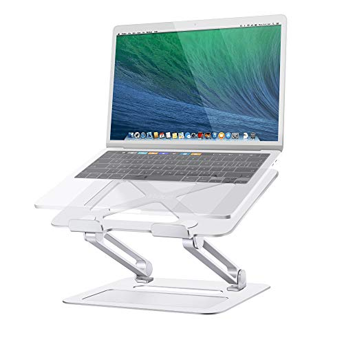 Adjustable Laptop Stand, TRUNIUM Ergonomic Laptop Stand for Desk, Aluminum Laptop Holder, Portable Notebook Riser Compatible with 10-15.6 Inches MacBook, Dell, Samsung, and More Laptops (Silver)