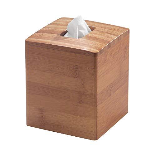 iDesign Formbu Bamboo Facial Tissue Box Cover, Boutique Container for Bathroom Vanity Countertops, 5.25
