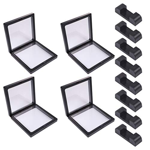 Cabilock 4 Sätze 3D Floating Frame Displayhalter Münz Display Box für Challenge Münzen Store Home (Schwarz)