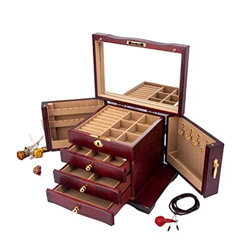 caja organizadora de joyas Caja de joyería de madera maciza con joyería Espejo de baño Box Alto grado de bloqueo de múltiples funciones de gran capacidad de almacenamiento caja de joyas organizador de
