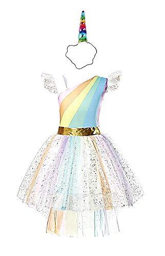 Kostuum - eenhoorn - hoofdband - prinses - carnaval - halloween - fee - multi-regenboog - meisje - accessoires - maat 120-5/6 jaar - origineel idee voor een verjaardagscadeau voor kerstmis