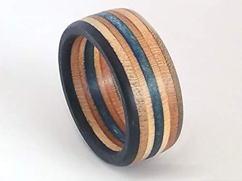 Upcycling Skateboard Ring Breite 9 mm Acryl versiegelt, Ringgröße 48 bis 74