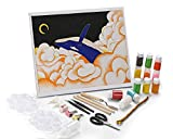 Florescent Dolphin Sand Painting, Wall Decor Paint Set, Canvas Boards for Painting has Glue, Sand,Silk Thread, DIY Christmas Decoration Painting