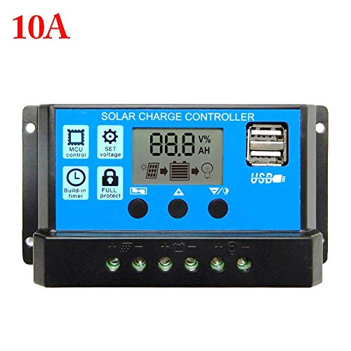 AIMERKUP 12V / 24V10A 20A 30A 40A 50A 60A Solar Laderegler Automatischer LCD-Panel Intelligenter Batterieregler Ladeschutz Premium 10 A Eine