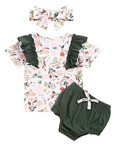 Conjunto de ropa de bebé para niña, pelele de manga larga, con pantalones y cinta para la cabeza, 3 piezas para niños pequeños Verde corto. 0-3 Meses