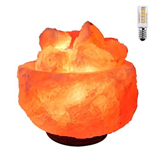 Lámpara de Sal del Himalaya Natural Cuenco Grande 3-5 Kg + 1 Bombilla de Led de Repuesto Enchufe Europeo…