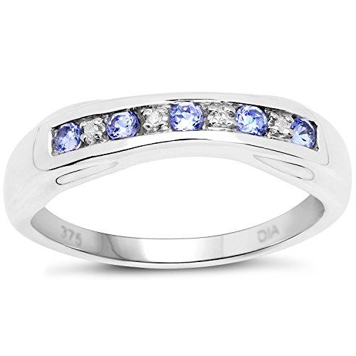 De Diamond Ring Collectie: 9Ct Wit Goud Tanzaniet en Diamant 6 mm Kanaalset, Verlovingsring, Eeuwigheidsring, Moederdag, Jubileum, Cadeau, Ringgrootte 9,10,11,12,13,15,16,17,19,24,20,15,6,21,22