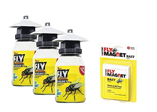 Victor M380 Fly Magnet 1-Quart Reusable Trap With Bait, 3 Pack and 3 Extra Fly Magnet Bait Packs