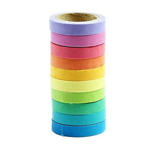 VORCOOL 10pcs Rainbow collant papier Washi décoratif ruban adhésif de masquage pour le Scrapbooking bricolage