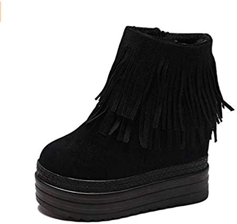 Qiusa Hohe Absätze Die erhöhten kurzen Stiefel im Inneren erhöhten die dicken unteren Keilabsatzschuhe mit den Absatzschuhen mit super hohem Absatz Waren dünn (Farbe   schwarz Tassel, Größe   36)  | Berühmter Laden  | Zu ve