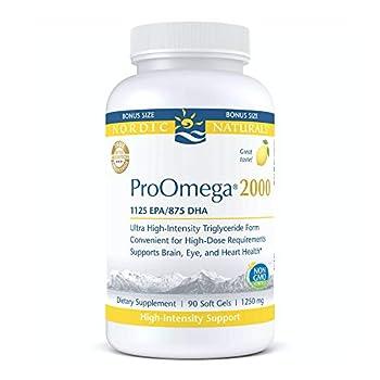 Nordic Naturals ProOmega 2000 Lemon Flavor - 2150 mg Omega-3-90 Soft Gels - Ultra High-Potency Fish Oil - EPA & DHA - Promotes Brain Eye Heart & Immune Health - Non-GMO - 45 Servings