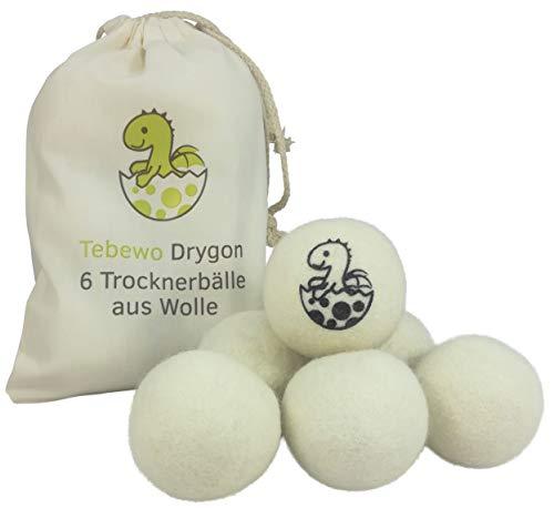 Tebewo Drygon Trockner-Bälle 6er Set | Wasch-Trockner-Bälle aus Schafs-Wolle für Wäsche-Trockner | Natürlicher, umweltfreundlicher Weich-Spüler | Dryer Balls | Ideal für Daunen, Bettwäsche, Jacken