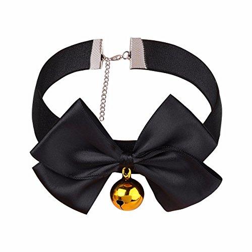 FEESHOW Frauen Leder Halsband Choker mit Glocke und Bowknot Katzen Maid Kostüm Halskette Steampunk Party Zubehör Verstellbar Schwarz M