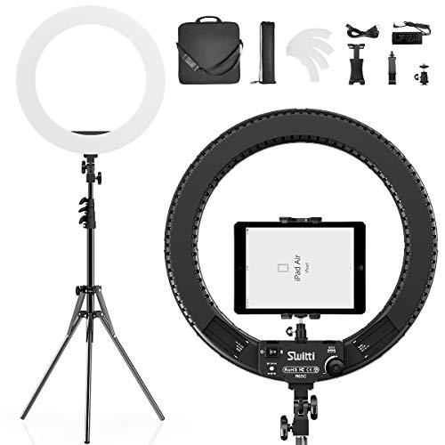 Switti Ring Light with Stand and ipad & Phone Holder,Makeup LED Ring Lights 60W Bi-Color 3000K-5800K CRI≥97 & TLCI ≥99 for YouTube, Facebook Live,Twitch and Blogging (Black)