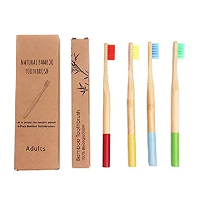 (4) Biodegradable bamboo toothbrush, Round base, Eco friendly, BPA free Nylon Bristles, Multipack, Eco packaging