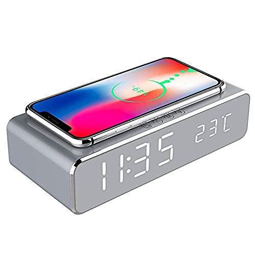 YAYY LED Alarm Klok met Telefoon Draadloze Oplader Nieuwe desktop multifunctionele spiegel wekker draadloze oplader. (Upgraden)