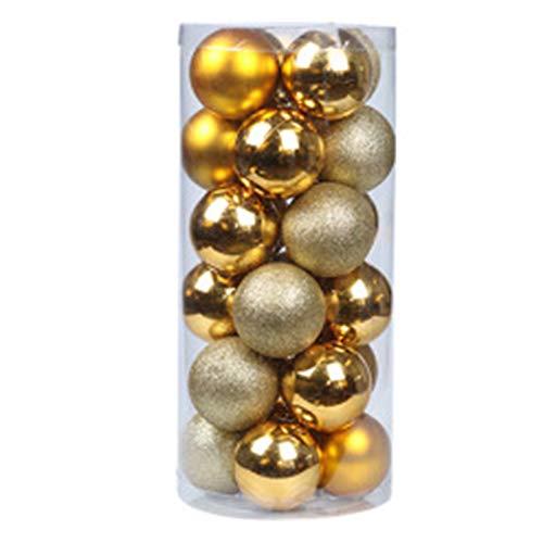 QXMAOYI Christmas Ball Ornaments 80mm/3.15' Christmas Ball Ornaments Shatterproof Christmas Decorations Tree Balls for Xmas Holiday Wedding Party Decoration (24 pcs, Yellow)