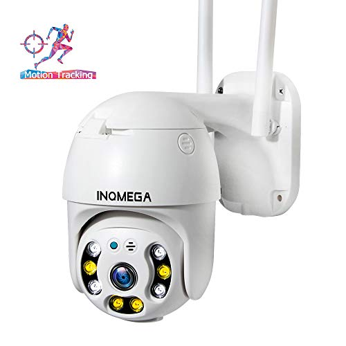 INQMEGA PTZ Camera Outdoor, 1080p Wireless Security IP Camera, Pan Tilt 4X Zoom, Two Way Audio, Color Night Vision, Waterproof Surveillance CCTV, Motion Detection Alarm, Support Max 128GB SD