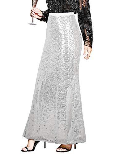 PrettyGuide Women's Sequin Skirt Bodycon High Waist Shiny Maxi Long Bridesmaid Skirt S White Silver