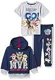 Nickelodeon Paw Patrol Graphic Hoodie, T-Shirt, & Jogger Sweatpant, 3-Piece Athleisure Outfit Bundle Set-Toddler Boys-Nick Jr, Navy/Heather Grey, 5T
