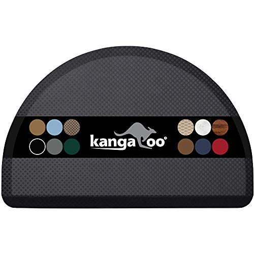 Kangaroo Original Commercial Grade Standing Mat Half Circle Kitchen Rug, Anti Fatigue Comfort Flooring, Phthalate Free, Non-Toxic, Salon, Rugs for Office Stand Up Desk, Half Round, Black