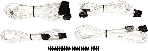 """Corsair CP-8920146 Premium Sleeved """"RMi-, RMx,- SF und Typ4 (Generation 3)-Serie"""" Netzteil Starter-Kabel-Set weiß"""