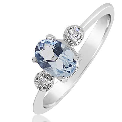 MILLE AMORI ∞ Anillo Mujer Compromiso Oro y Diamantes - Oro Blanco 9 Kt 375 ∞ Diamantes 0.05 Kt - Aguamarina 1,15 Kt