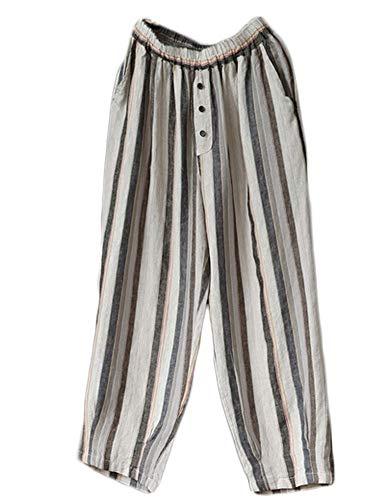 Mallimoda Donna Pantaloni A Righe Cropped Pantaloni Pantalone in Lino Grigio XL