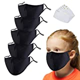 5Pack Black Cotton Face Mask for Children【3 Layers】with Adjustable Metal Nose Bridge with 6 Pcs Replacement Filters, Adjustable Ear Loops,Reusable,Washable Face Mask(5 Pack Black Kids)