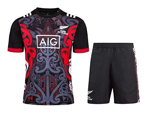 DZHTSWD New Zealand Maori Rugby Jersey Uomo, all Black 2019 Camicie Training Maglie Rugby League e Formazione Concorso Shorts 2 Pieces Uomo PRO Jersey, S-XXXL, Dimensione: 3XL, Colore: Nero