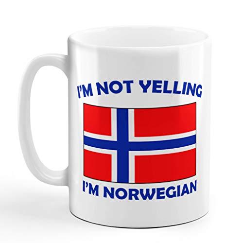 I'M Not Yelling I Am Norwegian Norway Norwegians Ceramic Coffee Tea Mug Cup Holiday Christmas Hanukkah Gift For Men & Women