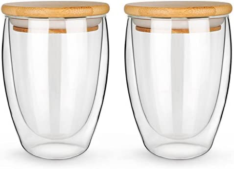 NimaTea Glass Mug Set of 2 12 Ounces Each Double Wall Insulated Drinking Cup with Bamboo Lid product image
