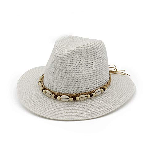 TRDyj Visor British Wind Jazz Straw Hat Spring and Summer Ladies Sun Visor Woven Breathable Sun Hat Travel Cap (Color : White)