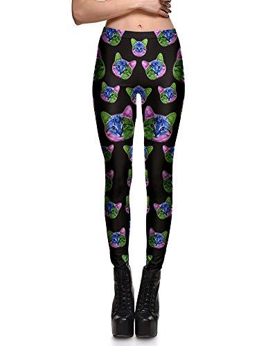 Adelina Dames Lange Broek Knuffelig Patroon Yoga Mode Kat Leggings Stretch Modieuze Completi Elastische Taille Broek Sportbroek