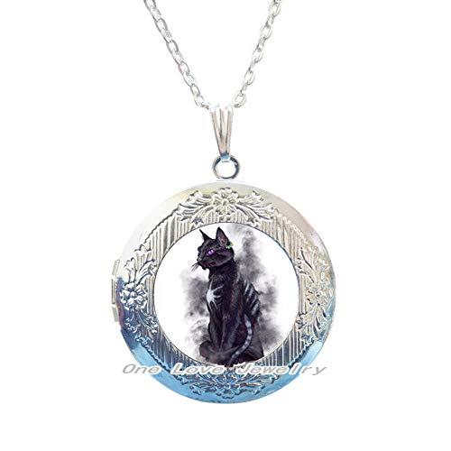 Ni36uo0qitian0ozaap Collar con medallón de gato negro Civet, collar con medallón de cristal para hombres y mujeres con colgante de medallón, TAP255