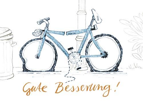 Postkarte Grusskarte Gute Besserung Fahrrad