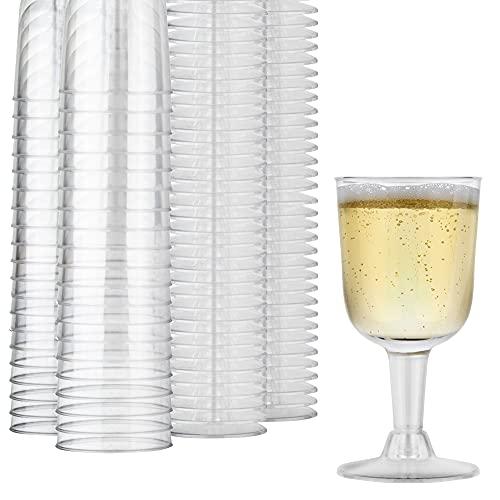 Stock Your Home Copas de vino de plástico transparente de 5 onzas (paquete de 40) – Libre de BPA y reciclable – Copa de vino inastillable – Vasos desechables y reutilizables...