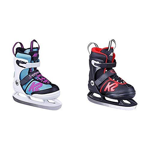 K2 Skates Mädchen Schlittschuhe Juno Ice — White - Light Blue — EU: 35-40 (UK: 3-7 / US: 4-8) & Jungen Schlittschuhe Joker Ice — Black - red — EU: 35-40 (UK: 3-7 / US: 4-8)