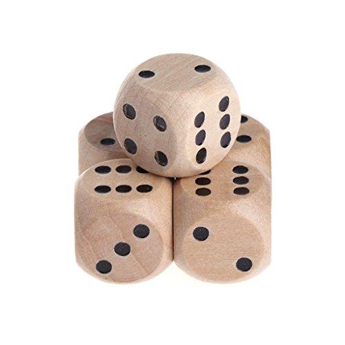 fxco 5pcs 6dadi in legno Numero di parte di Mahjong in legno o punto rotondo coener bambini giocattoli gioco 16a