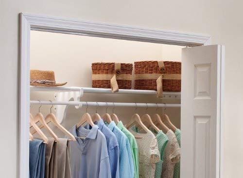 "EZ Shelf DIY Expandable Closet Shelf & Rod - 64"" - 118"" - White - Mounts to 2 Sidewalls - Easy to Install-Strong - Wire Shelving Alternative - Rod & Shelf Kit (EZS-SCRW118)"